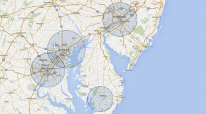 Routed delivery DC and surrounding map